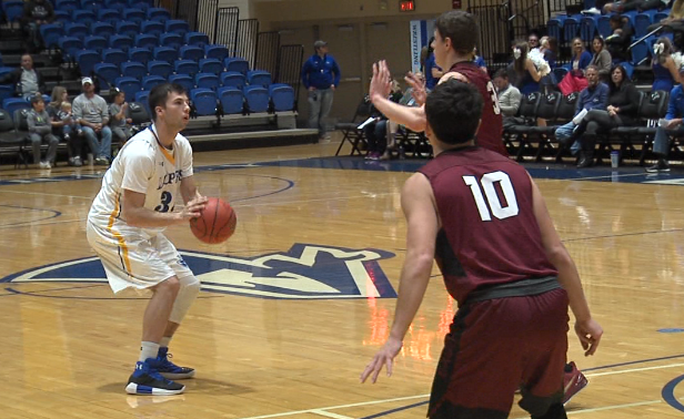 UNK senior Ty Danielson (34) shoots a three-point field goal in a 72-69 loss against Chadron State on Nov. 15, 2017 (KHGI)<p></p>