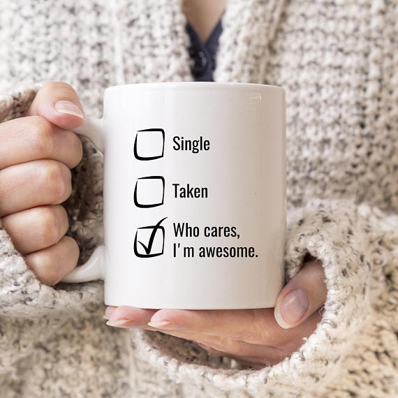 I Am Awesome Mug, Single Awareness Day from SuchMugs Etsy // Price: $19.95 // (Image: SuchMugs // http://etsy.me/2C0Nlnl)<p></p>