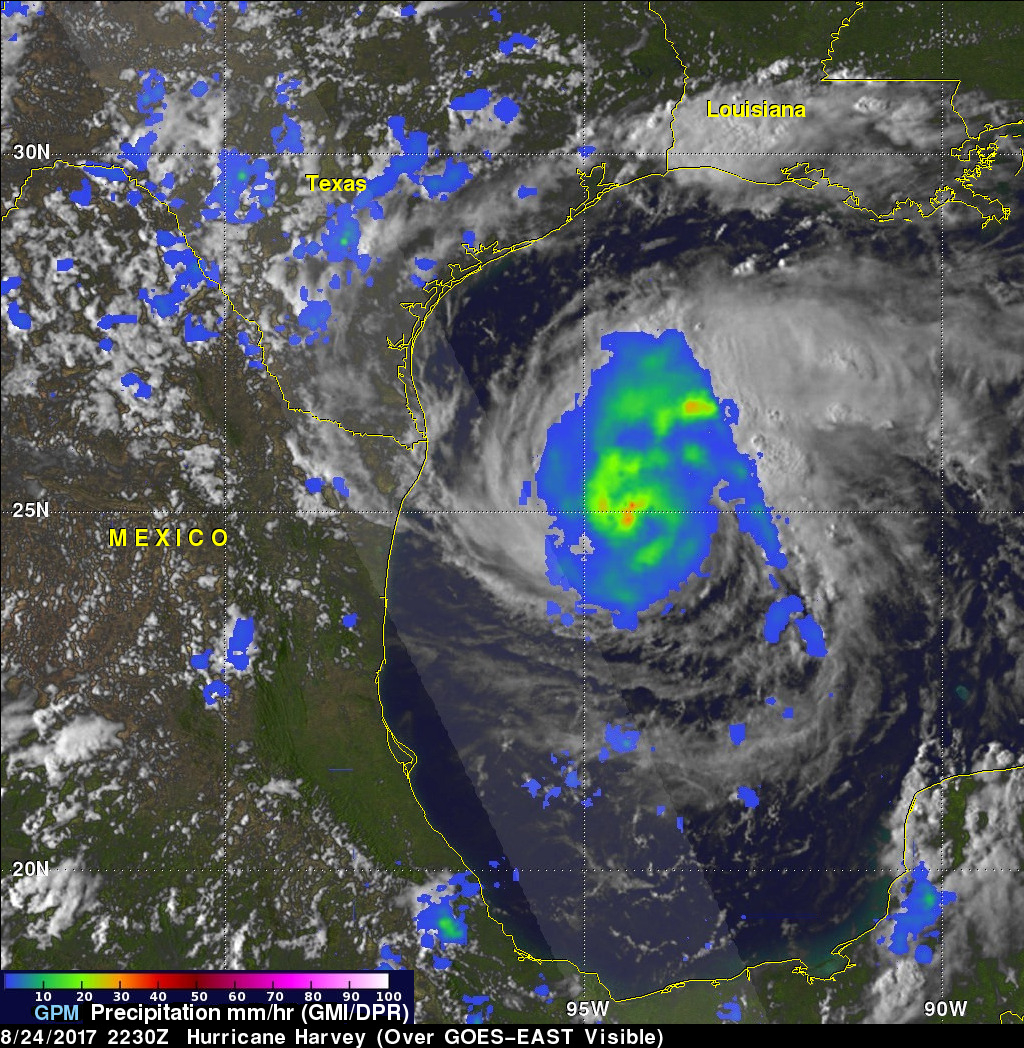 The GPM satellite flew almost directly above intensifying Hurricane Harvey on August 24, 2017 at 6:30 p.m. EDT  / Credits: NASA /JAXA, Hal Pierce
