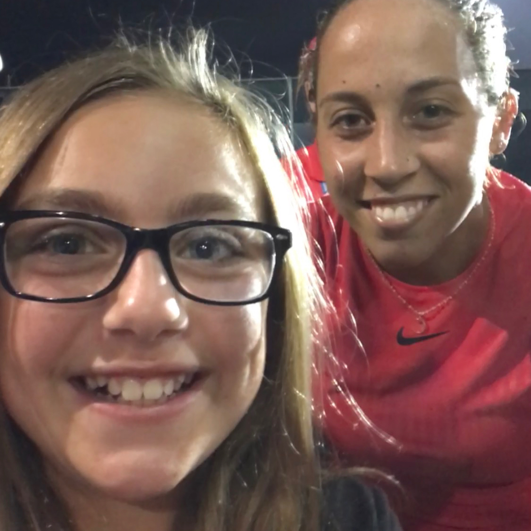 "POST: Kaitlyn with Madison Keys who won the women's singles center court round of the Cincinnati Masters tonight. After the international tv interview, Kaitlyn bumped up to the line like she had a McCabe Media press badge and was like ""Can I get a picture?"" First fan pic after the win. Kaitlyn was ecstatic. What a cool night. So nice to be in the Citizen Watch box seats courtesy of Western & Southern Open and Prime Cincinnati. Amazing. / IMAGE: IG user @michaelshawnmccabe // Published: 8.17.17"