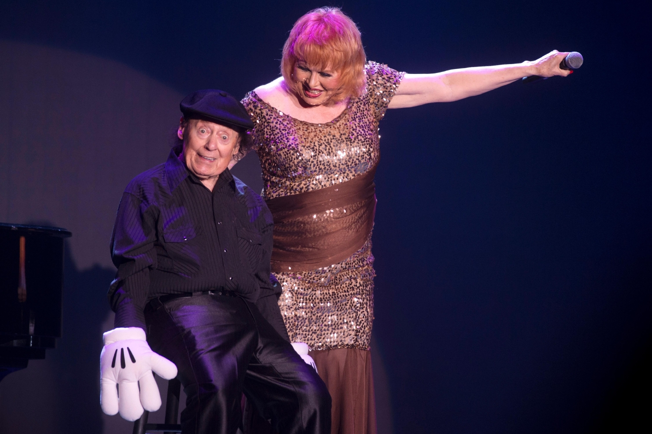 Comedian Marty Allen and his wife Karon Kate Blackwell celebrate his 95th birthday with a show at the South Point Thursday, March 23, 2017. [Sam Morris/Las Vegas News Bureau]
