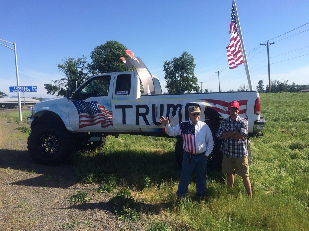 Supporters gathered outside the Eugene Airport awaiting the arrival of Donald Trump in Eugene on May 6, 2016. (SBG Photo)