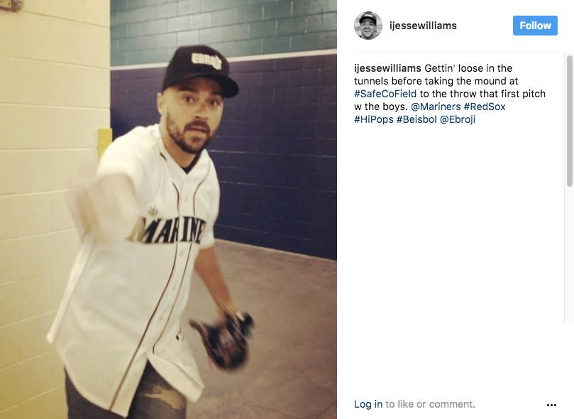 """Gettin' loose in the tunnels before taking the mound at #SafeCoField to throw the first pitch w the boys. @mariners #RedSox #HiPops #Beisbol @ebroji"" - Jesse Williams (aka Jackson Avery) (Image: @ijessewilliams Instagram)"