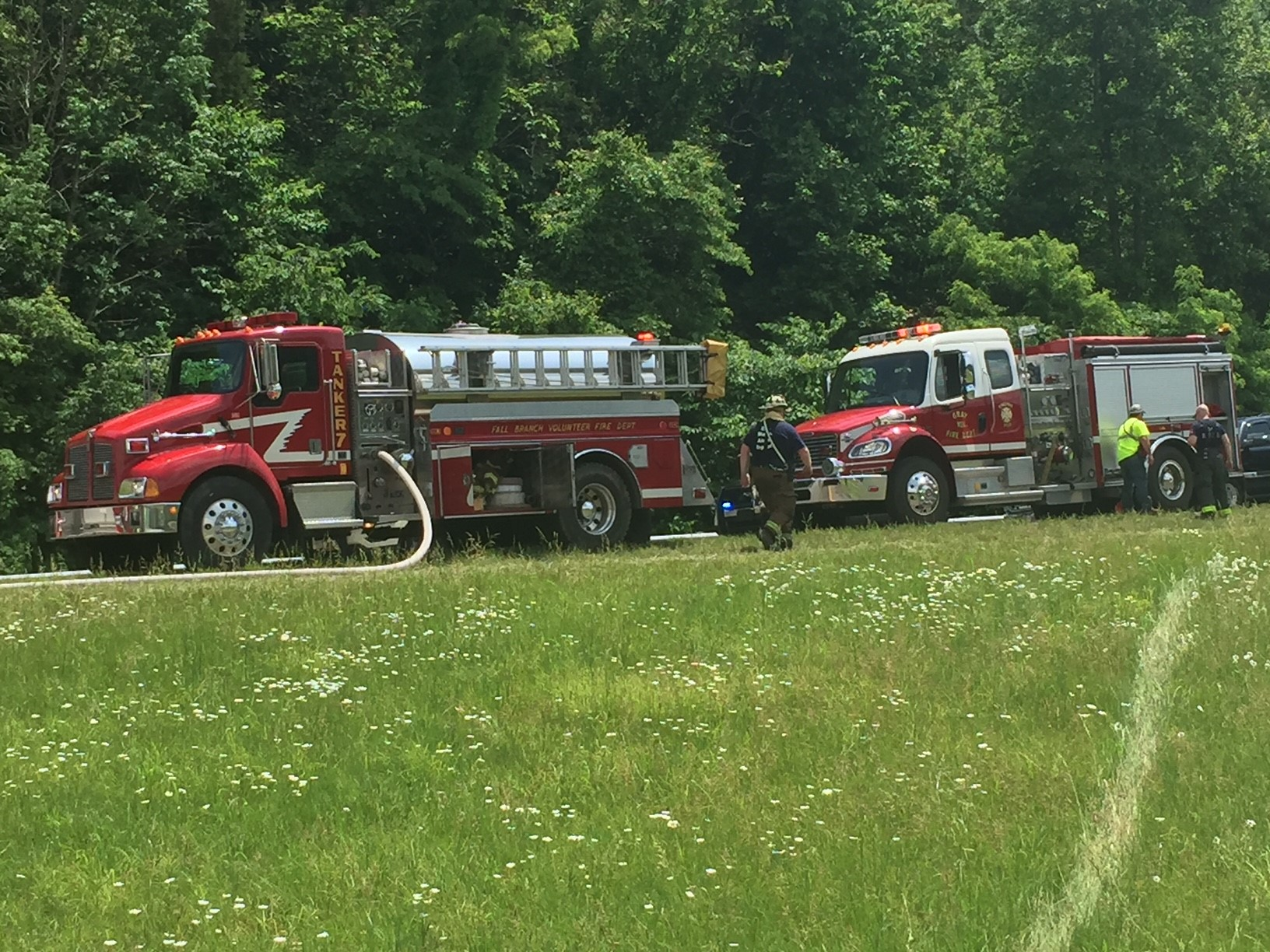 Several emergency and fire department descended upon Interstate 81 following a crash involving a Walmart tractor trailer and motorcycle riders in the 'Ride for the Wall' event. (K. Roberts, WCYB)<p></p>