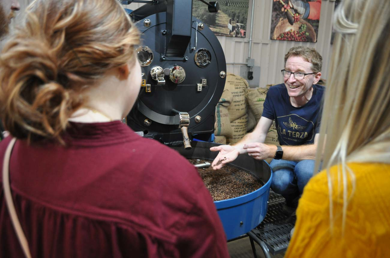 "The tours are called ""interactive roasterie experiences"". They offer outsiders a behind-the-scenes look at the Lockland roasterie and include coffee samples from the three major growing regions of the world, including Central America, Africa, and Indonesia. They're held on Saturdays at 9:30 AM, led by Aaron Parker. / Image: Liz Engel // Published: 7.27.20"