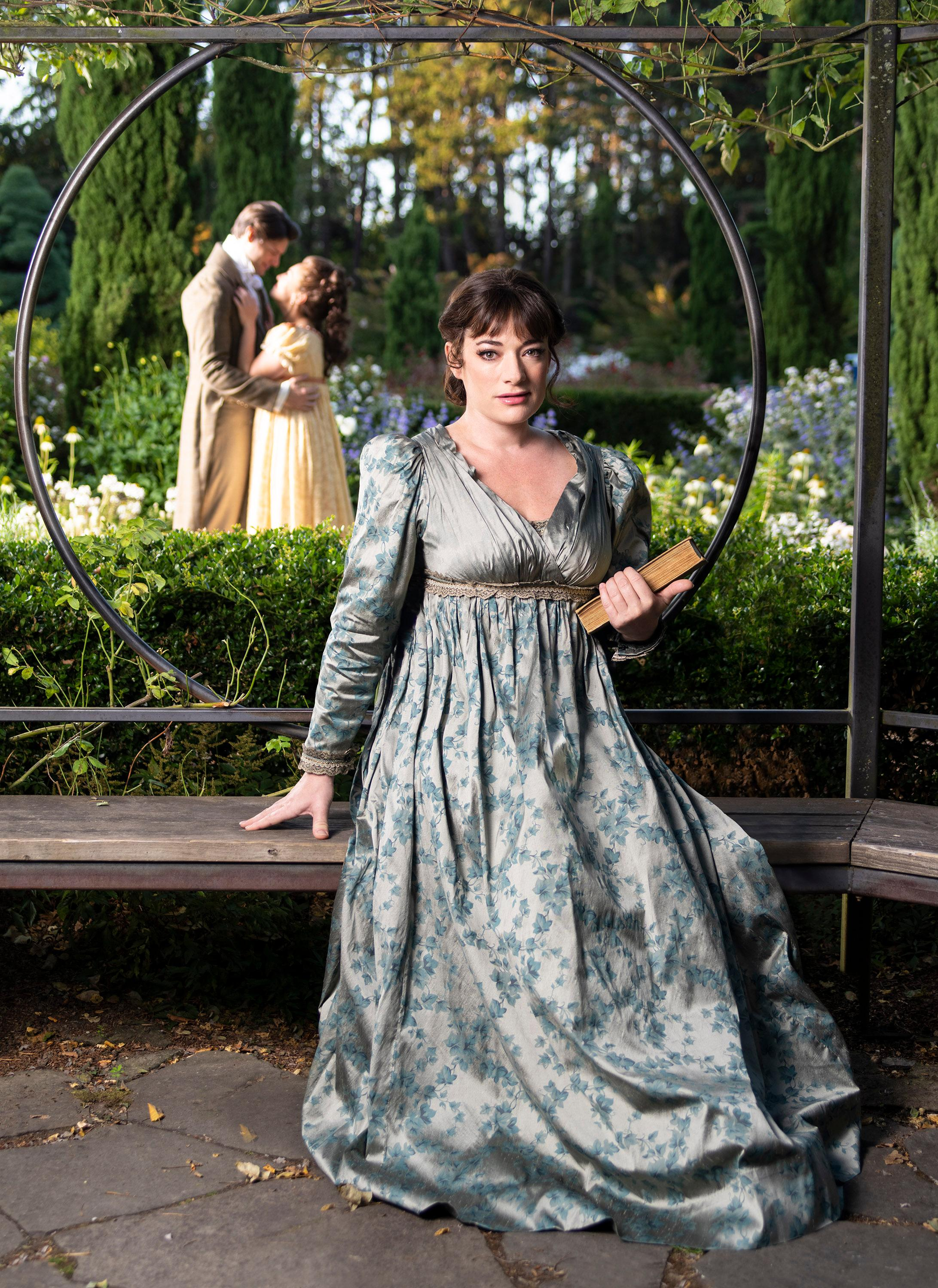 Laura Michelle Kelly stars as Jane Austen in 'Austen's Pride' at The 5th Avenue Theatre (Photo Credit: Mark Kitaoka)