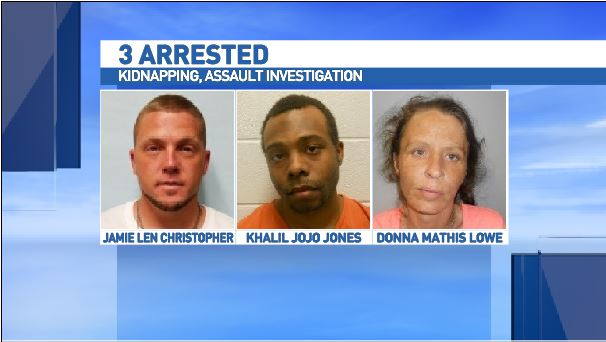 Dona Mathis Lowe,  39; Khalil JoJo Jones, 22; and Jamie Len Christopher, 37 were all arrested, according to police.. (Photo credit: Waynesville Police Department).