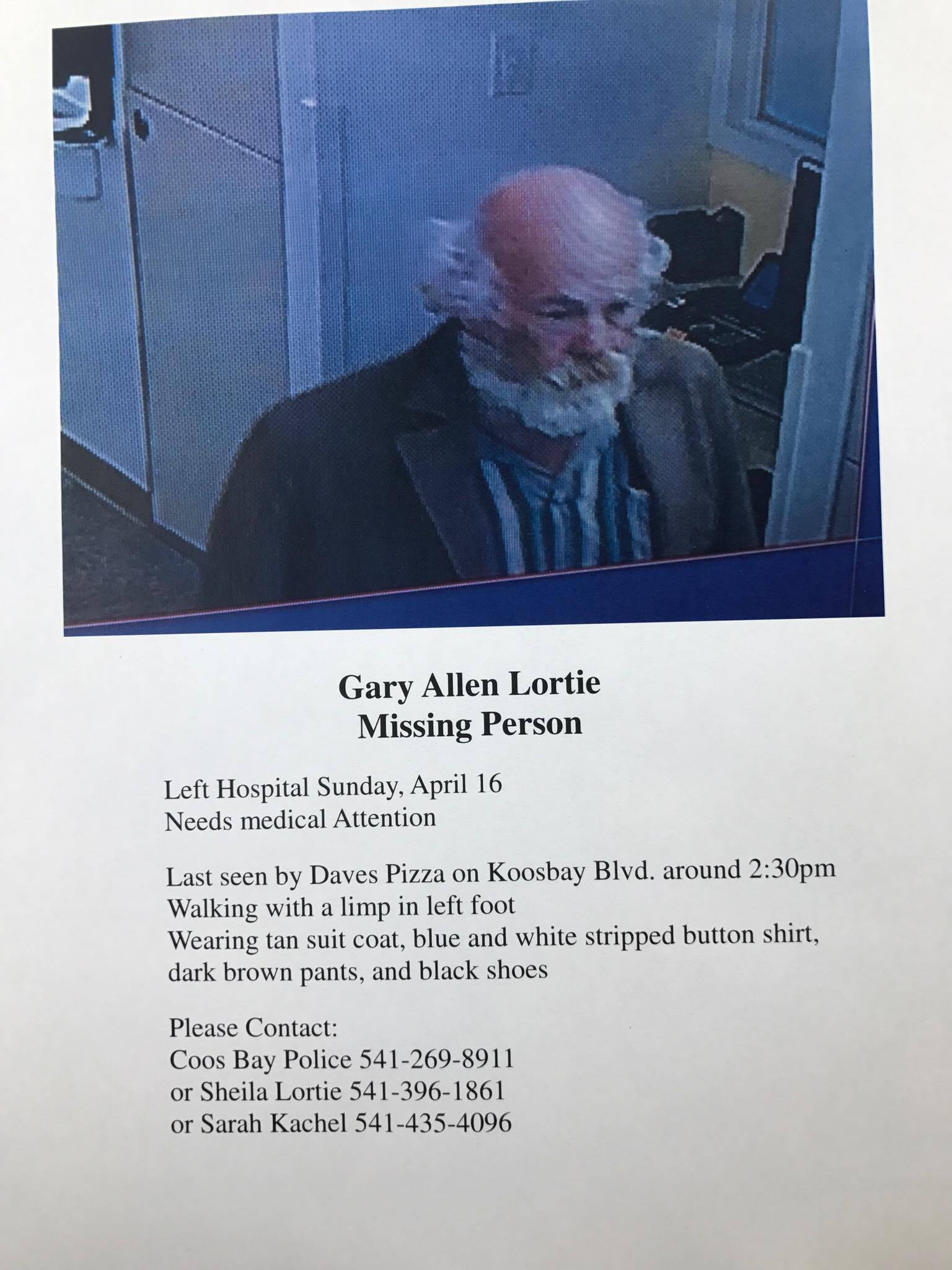 Flyer with information about Gary Lortie, who was reported missing after leaving Bay Area Hospital on April 16, 2017. (Image courtesy Sarah Kachel via Facebook group)