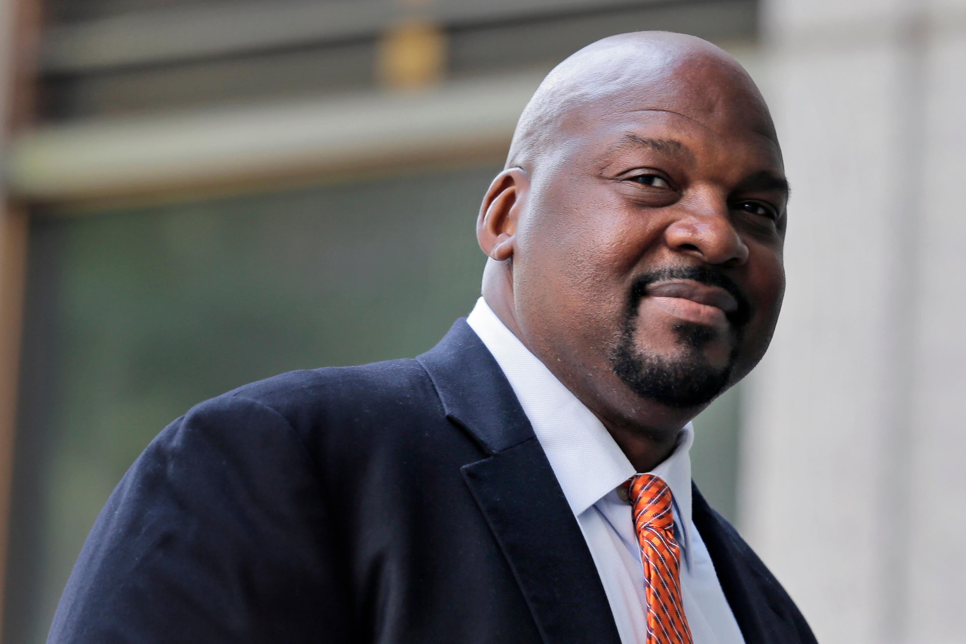 Former Auburn University assistant basketball coach Chuck Person arrives at federal court in New York for sentencing in a bribery scandal that has touched some of the biggest schools in college basketball, Wednesday, July 17, 2019. (AP Photo/Seth Wenig)