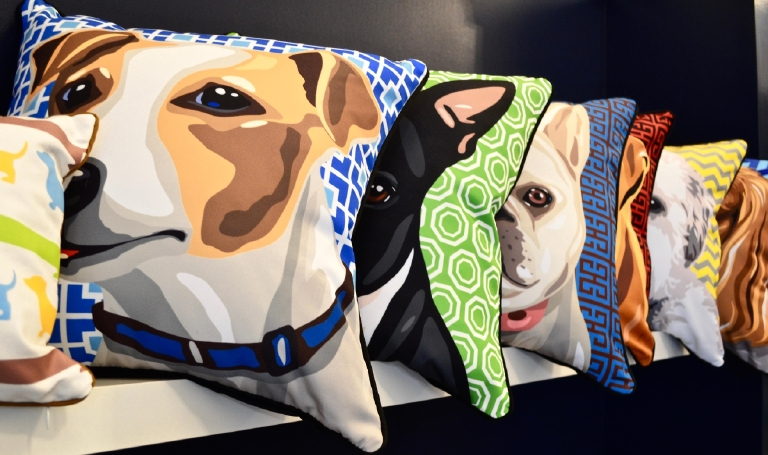 The puppy portrait pillows ($50) are sure to be your pal's new talking point at all future get togethers. (Image: Samantha Shapin)