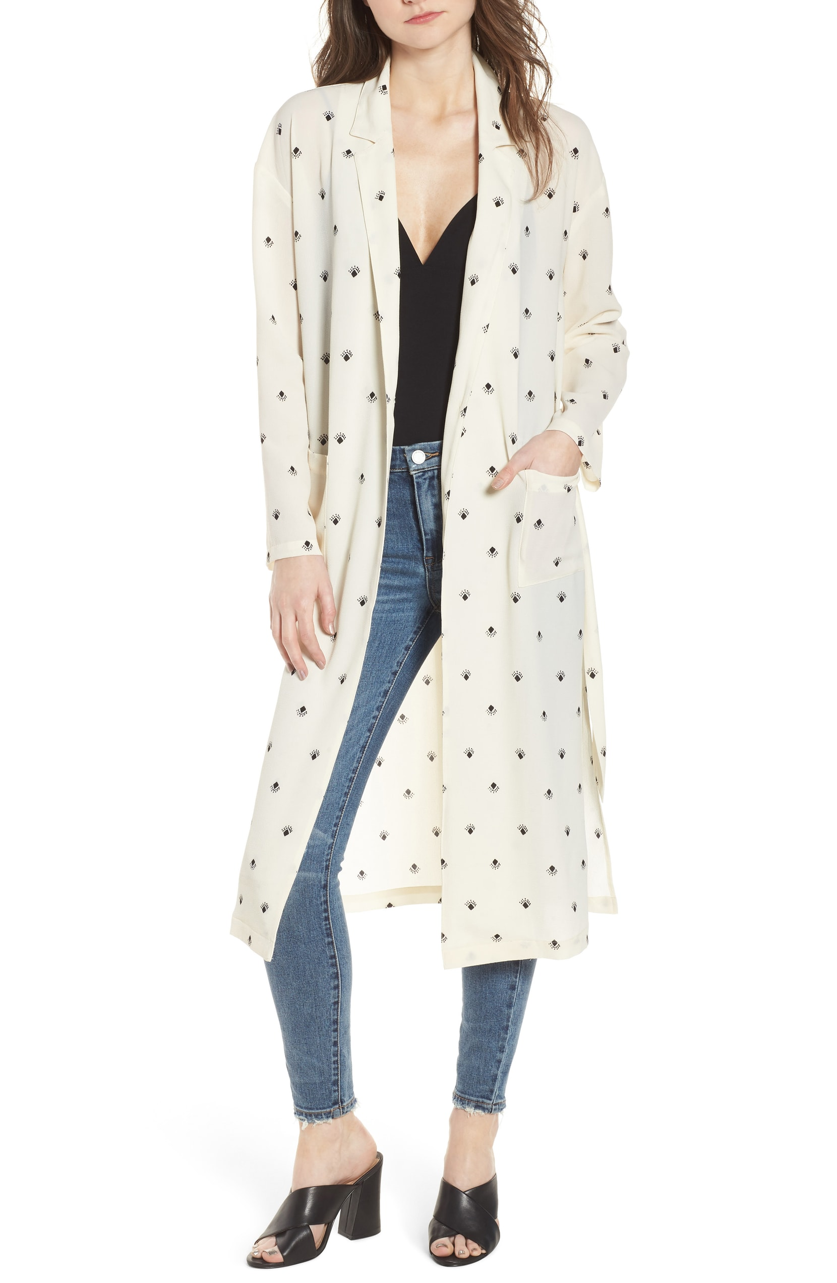 The Trend: Statement Jacket. Add a breezy element to your outfit this season in this lightweight duster styled with a sleek notched collar and a cute dotted motif. LEITH - $89.00 (Image: Nordstrom){ }