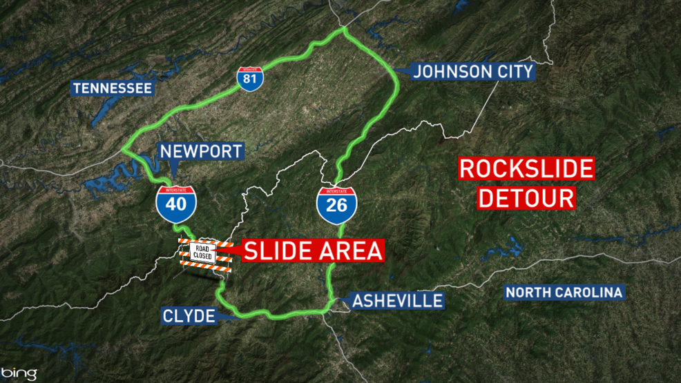 After landslide, here's the detour for I-40 in Haywood County