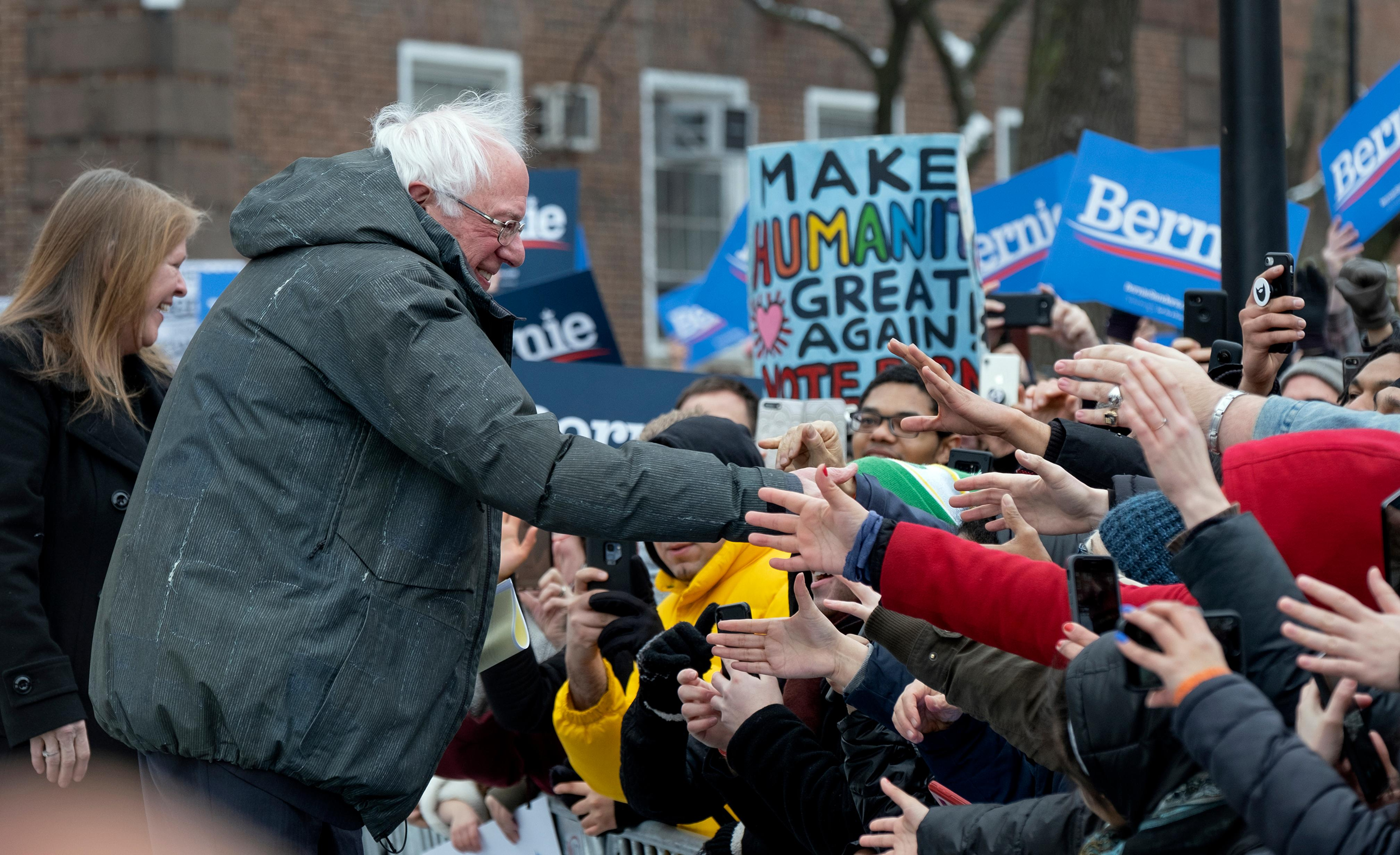 Sen. Bernie Sanders, I-Vt., greets supporters as arrives to kick off his second presidential campaign Saturday, March 2, 2019, in the Brooklyn borough of New York. Left is his wife Jane Sanders. (AP Photo/Craig Ruttle)