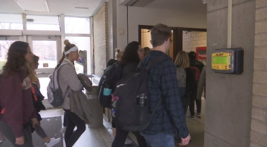 Many on campus were seen moving downstairs to seek appropriate shelter. (KRCG 13){&amp;nbsp;}<p></p>