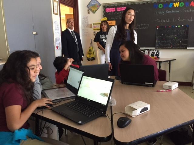 Jennifer Han played principal for the day at Ysleta Middle School on April 18. (CBS4/KFOX14)