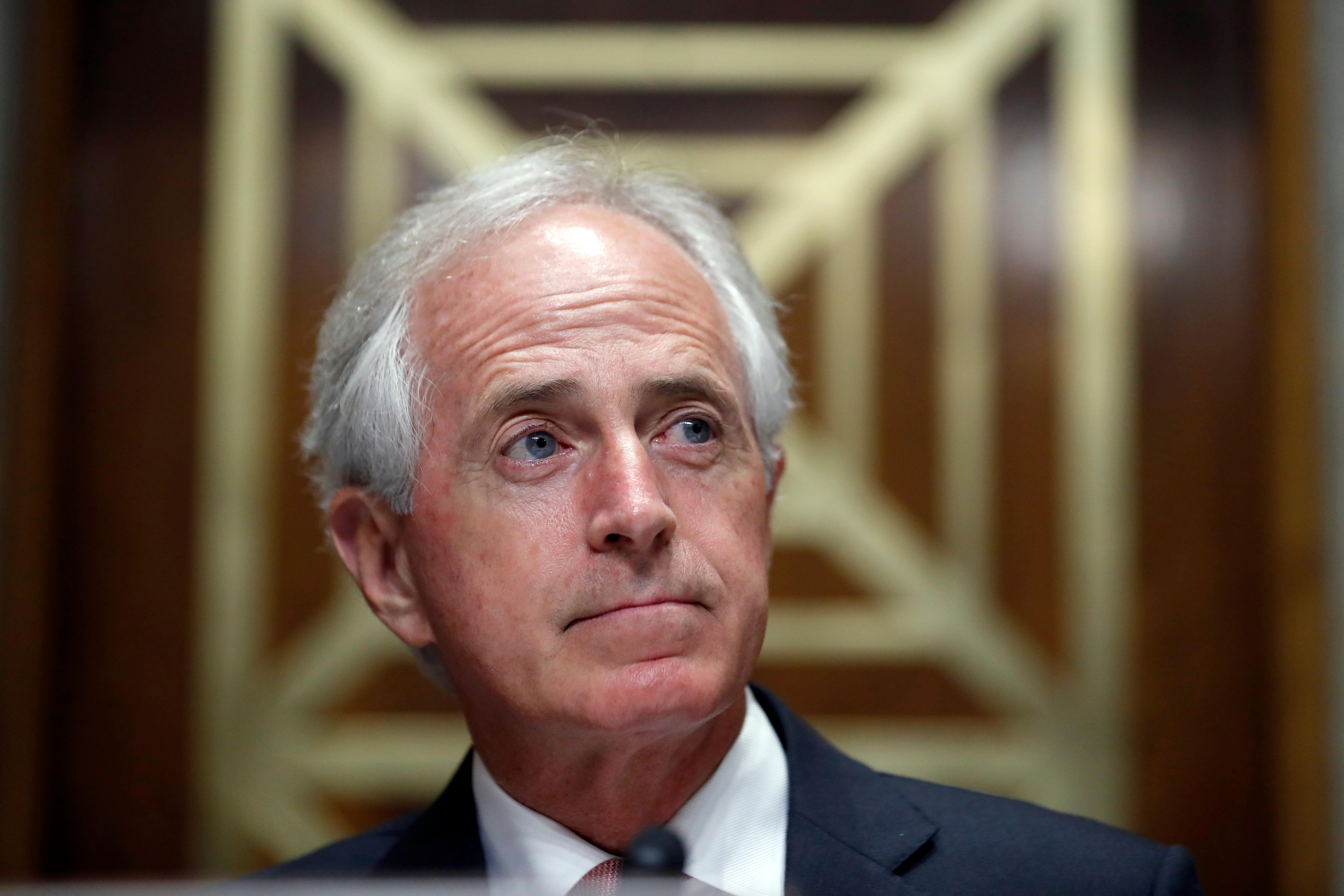 In this Sept. 19, 2017, photo, Sen. Bob Corker, R-Tenn., pauses on Capitol Hill in Washington. Congressional Republicans who've demanded a bigger say in how the Iran nuclear agreement works are getting just what they want after President Donald Trump directed lawmakers to make the international accord more stringent. Corker, the Foreign Relations Committee chairman, will be at the center of what's sure to be a stormy debate over the nuclear accord. And he's in the midst of a feud with Trump. (AP Photo/Alex Brandon, File)