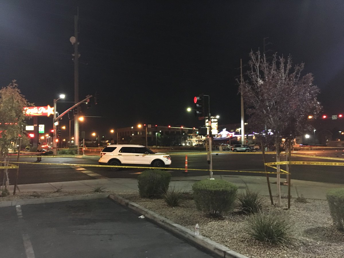 LVMPD responding to a fatal crash at Flamingo and Eastern. (KSNV){ }