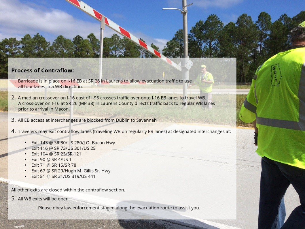 Traffic information for Mandatory Evacuation Zones provided by Georgia Governor's Office.