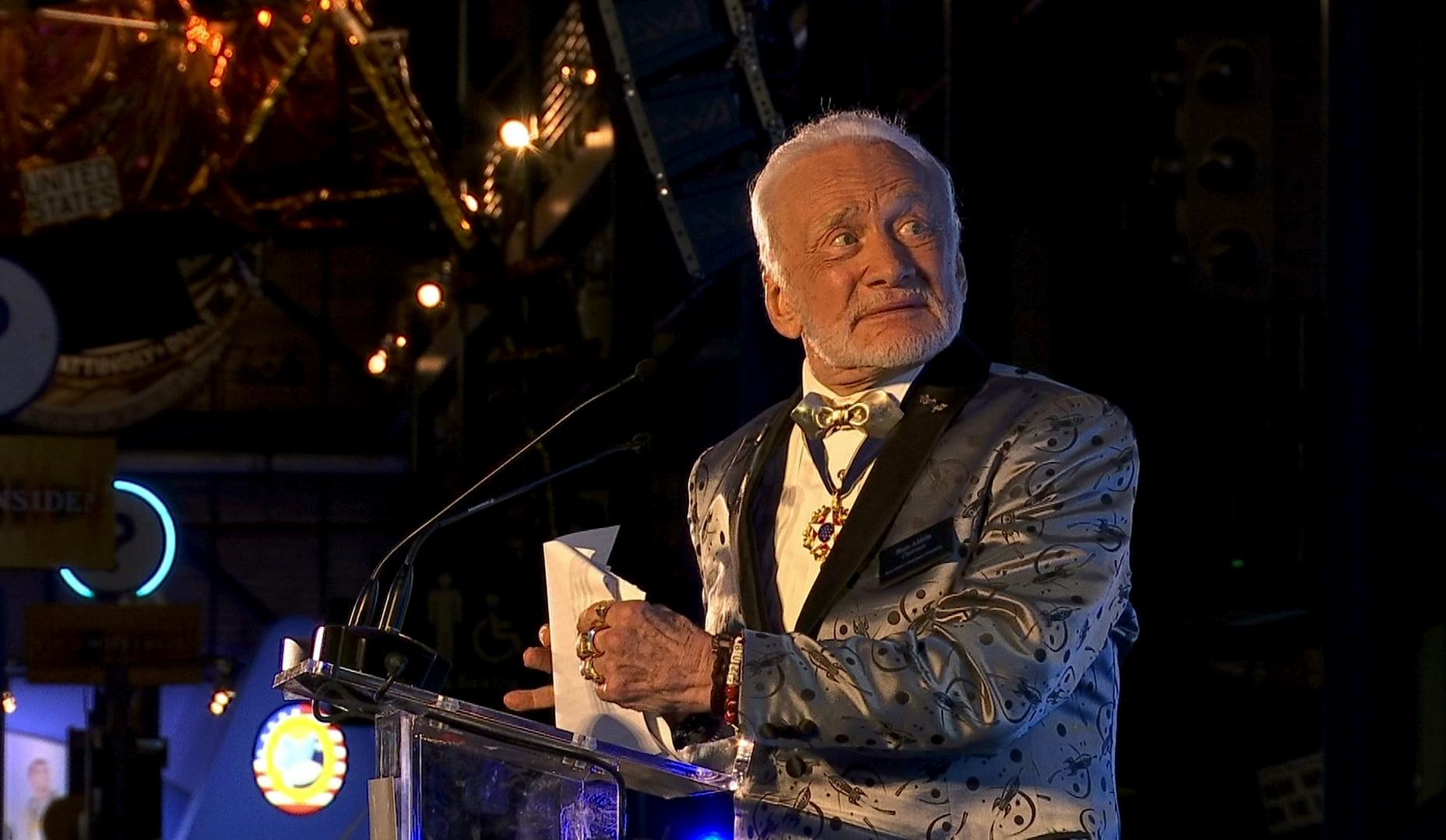Apollo 11 astronaut Buzz Aldrin speaks at the commemoration for the upcoming anniversary of the 1969 mission to the moon and a gala for his non-profit space education foundation, ShareSpace Foundation, at the Kennedy Space Center in Cape Canaveral, Fla., on Saturday, July 15, 2017. (AP Photo/Alex Sanz)