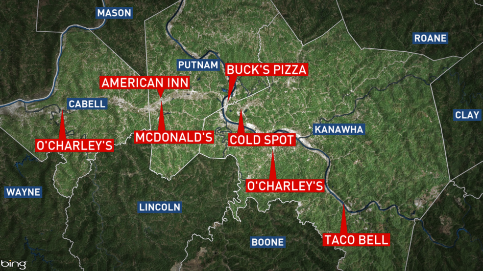 Map shows locations with confirmed Hepatitis A food service worker ...