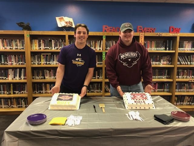 Hawley's Quay Stokes and Kole Smith celebrating signing with Hardin-Simmons and McMurry University football.<p></p>