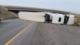 Semi-truck rollover blocks northbound I-15 traffic in Payson