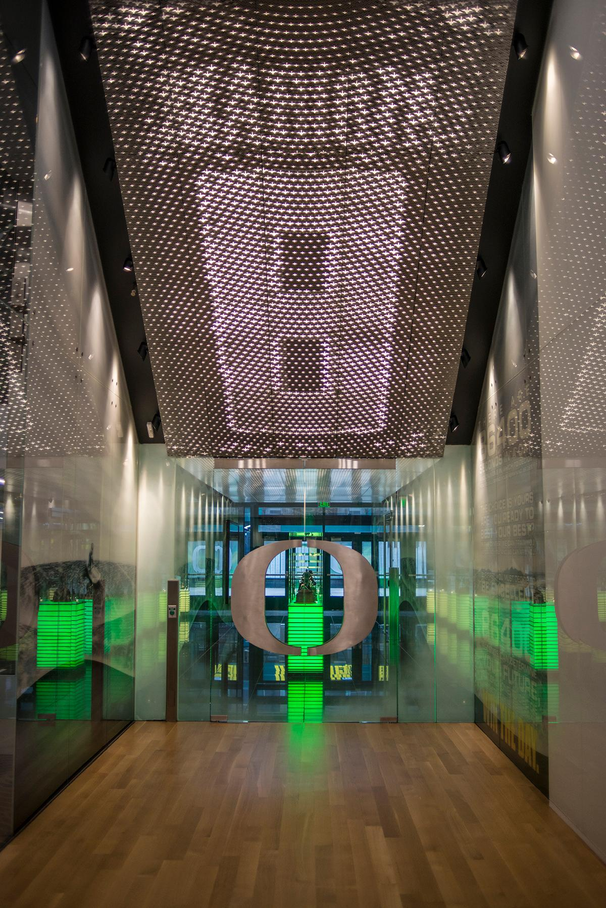 Several of the ceilings of the Mariota Sports Performance Center were designed to show an image when seen through a camera or smart phone. The Marcus Mariota Performance Center located next to Autzen Stadium was built using a private donation from Phil and Penny Knight estimated at $19 million. The performance center houses the recruiting center, armory shop, space saver units which hold all the gear for football, baseball, and lacrosse, as well as full weight room, nap room, and many other accommodations.