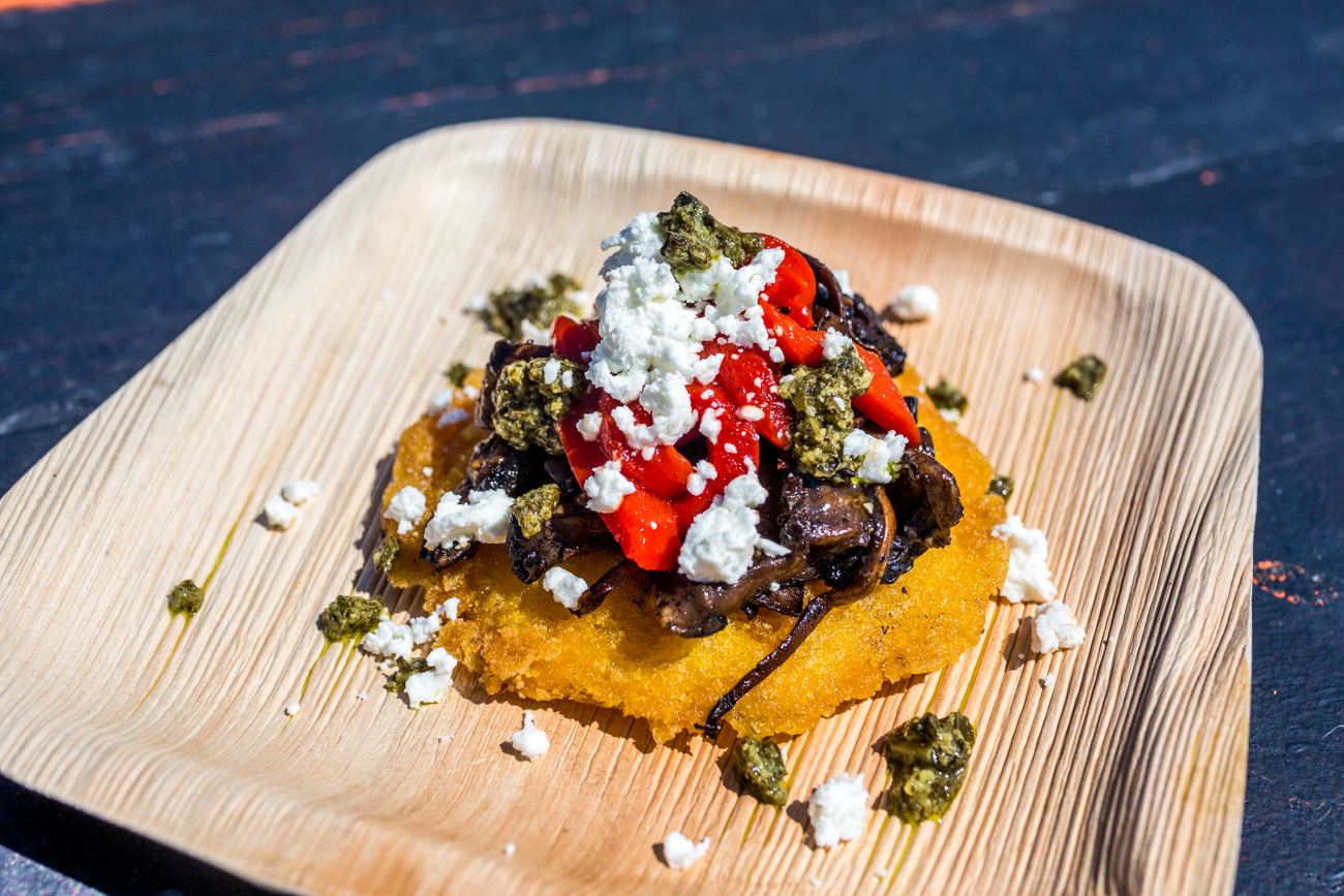 The Goatzart from The Screaming Goat: crispy polenta seasoned with truffle and topped with goat cheese, roasted red pepper, balsamic glazed mushrooms, and fresh pesto / Image: Catherine Viox // Published: 7.9.19