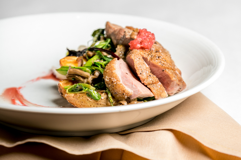 Duck Breast: ramps, fiddlehead ferns, confit potatoes, wild mushrooms, mustard greens, and strawberry polvrade sauce / Image: Amy Elisabeth Spasoff // Published: 7.12.18