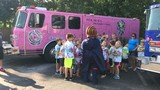 Pink fire truck visits West Michigan; Switalski family to add his name to its canvas