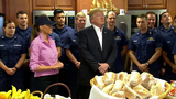 President Trump salutes troops on Thanksgiving