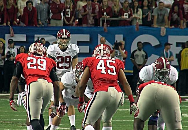Alabama's fake punt attempt against Georgia in the 2012 SEC Championship in Atlanta on Saturday, December 1, 2012.