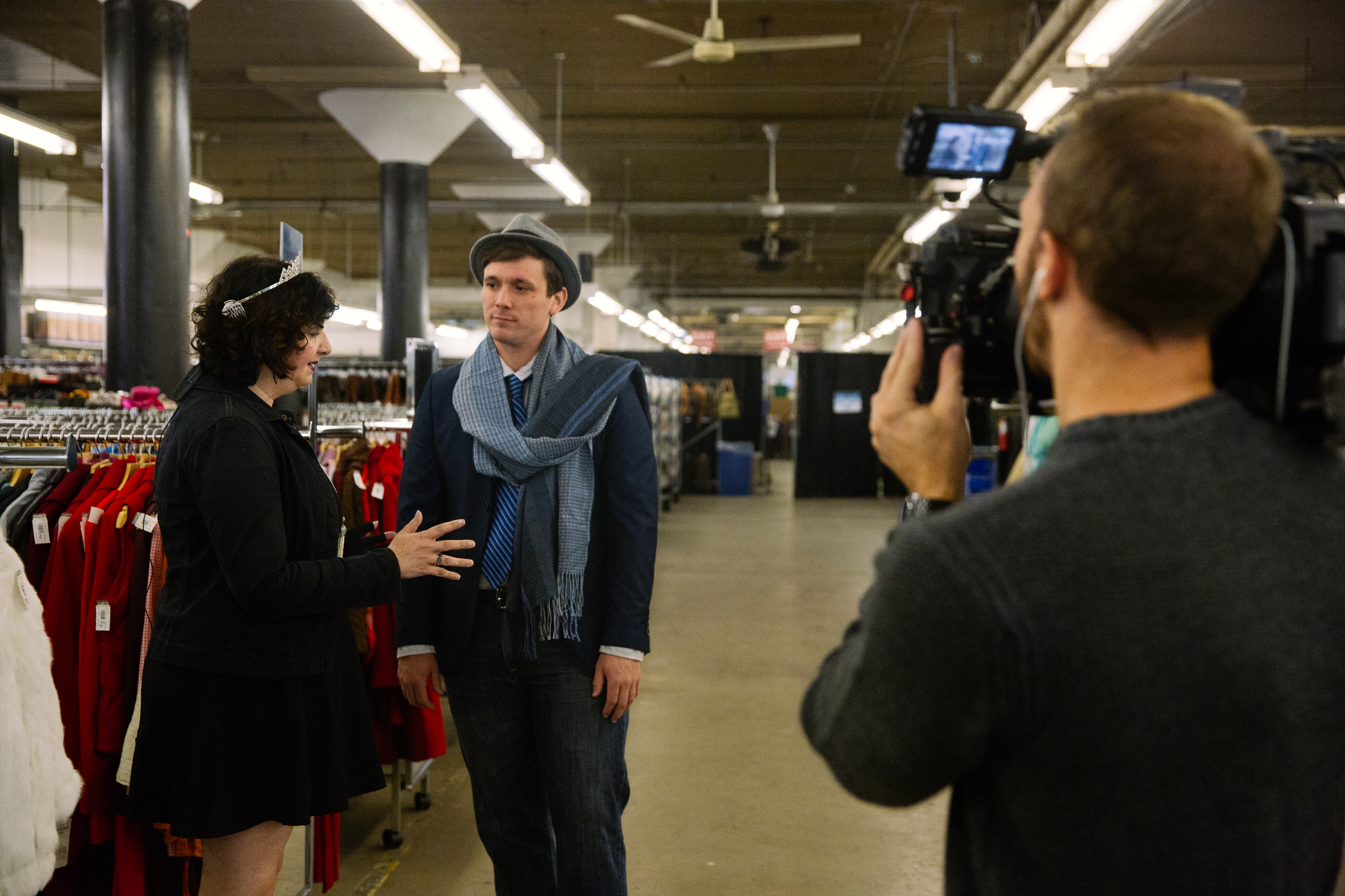 Behind the scenes as Seattle Refined Story shoots a story about the Seattle Goodwill Glitter Sale. (Photo courtesy of Seattle Goodwill)<p></p>
