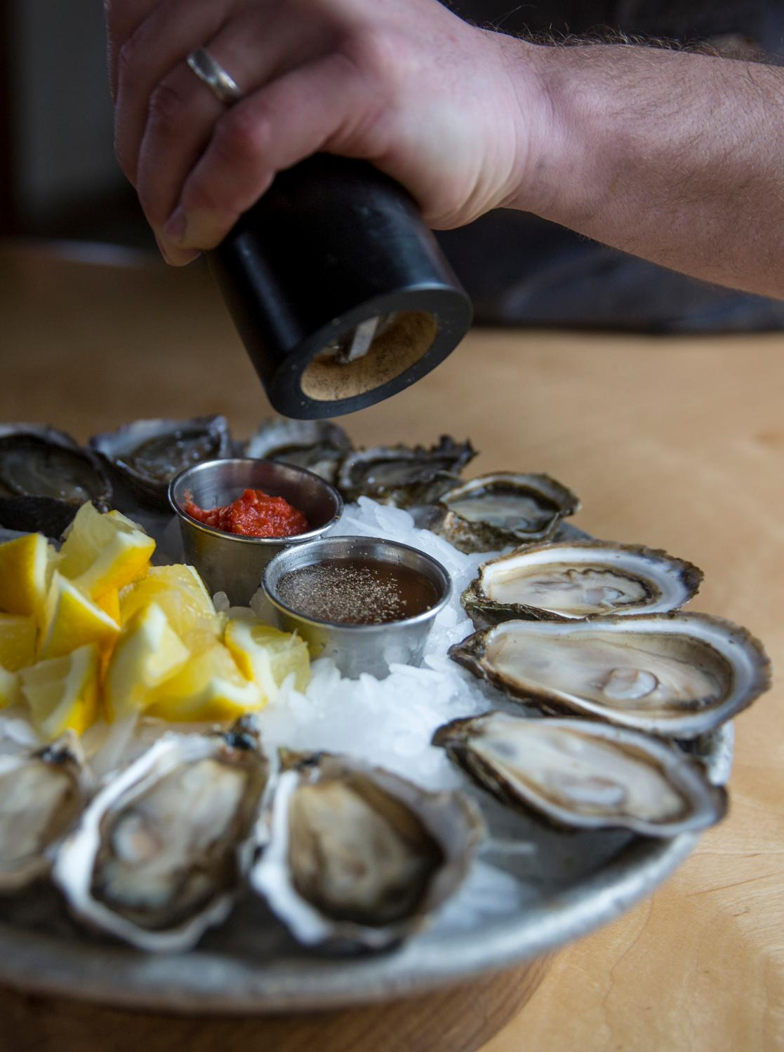 The Kumamoto, Fat Bastard, and Kusshi oysters freshly shucked at Taylor Shellfish's retail shop overlooking Samish Bay, located at 2182 Chuckanut Dr, in Bow, Washington. (Sy Bean / Seattle Refined)
