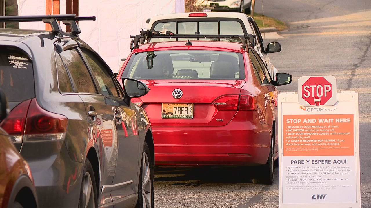 Nov. 24, 2020 - Madison County Health Department had their first drive-thru COVID-19 testing event on Tuesday. People sat in line, some for hours, to get tested before the holidays. (Photo credit: WLOS Staff)