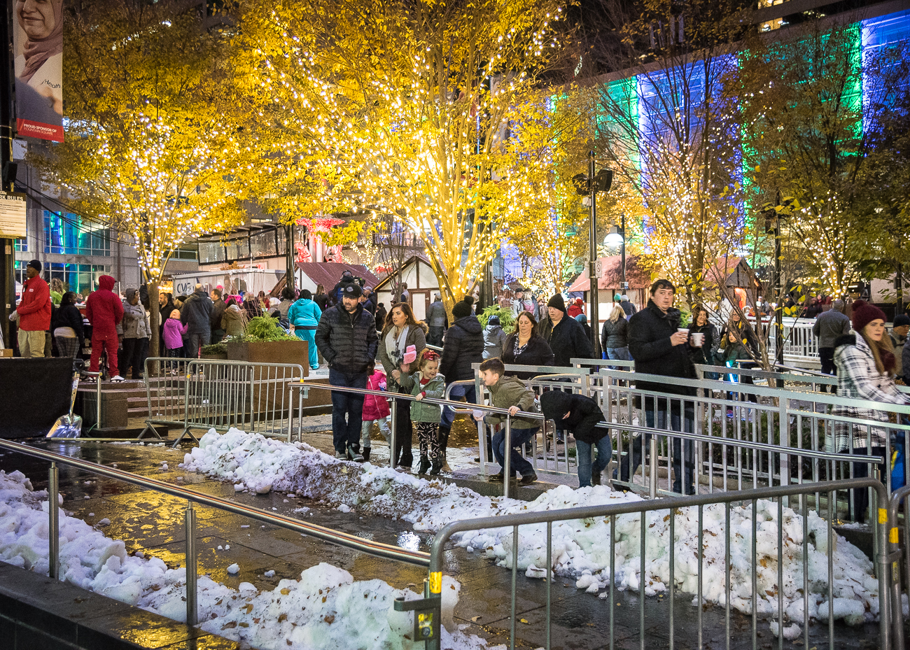 Macy's Light Up the Square was held on Friday, November 23, 2018. The 40-year-old, 55-foot Norway spruce was lit up with Christmas lights and topped with Macy's signature red star. Thousands of people gathered on the Square to witness the tree lighting and fireworks show immediately after. / Image: Phil Armstrong, Cincinnati Refined // Published: 11.24.18