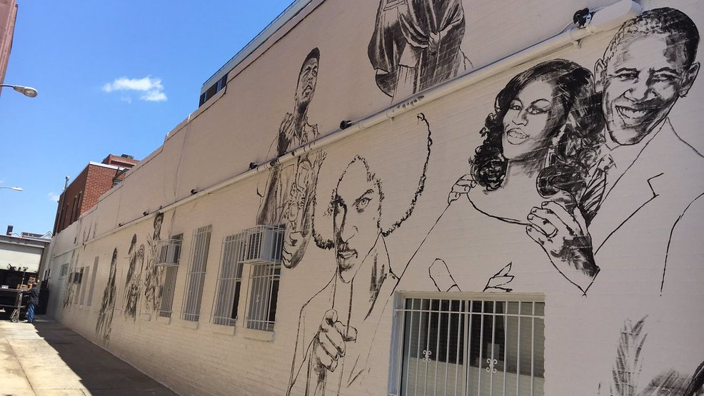 Ben 39 s chili bowl reveals new faces on its famous mural wjla for Chuck brown mural