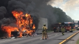 Semi-truck carrying sour cream catches fire on I-10