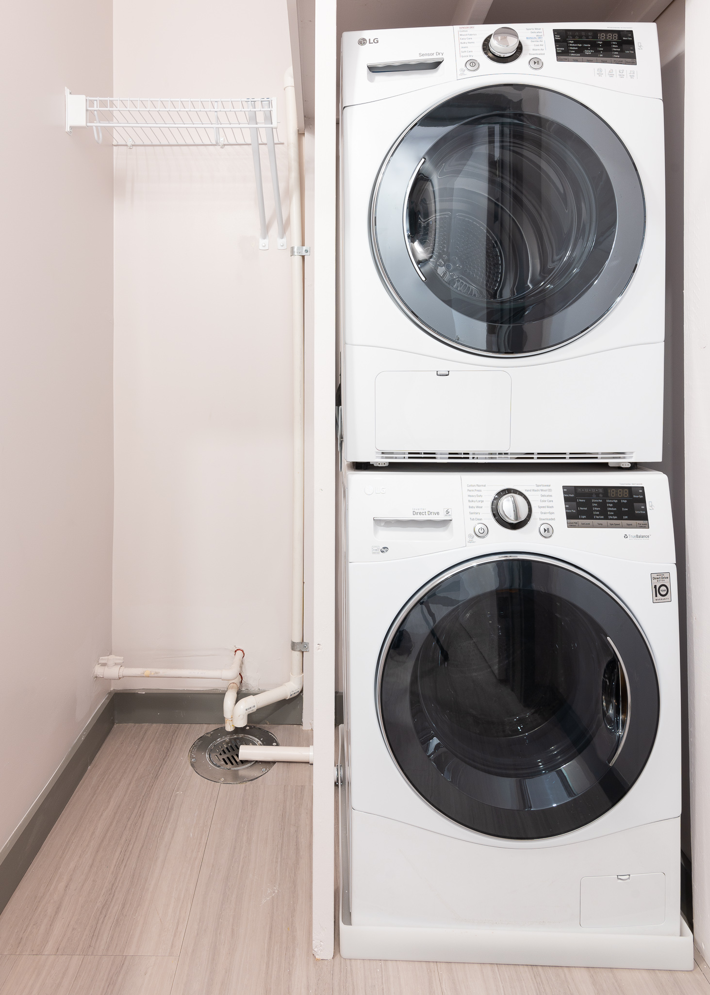 All apartments come equipped with in-unit stacked washers and dryers inside utility closets.{ }/ Image: Phil Armstrong, Cincinnati Refined // Published: 12.25.19