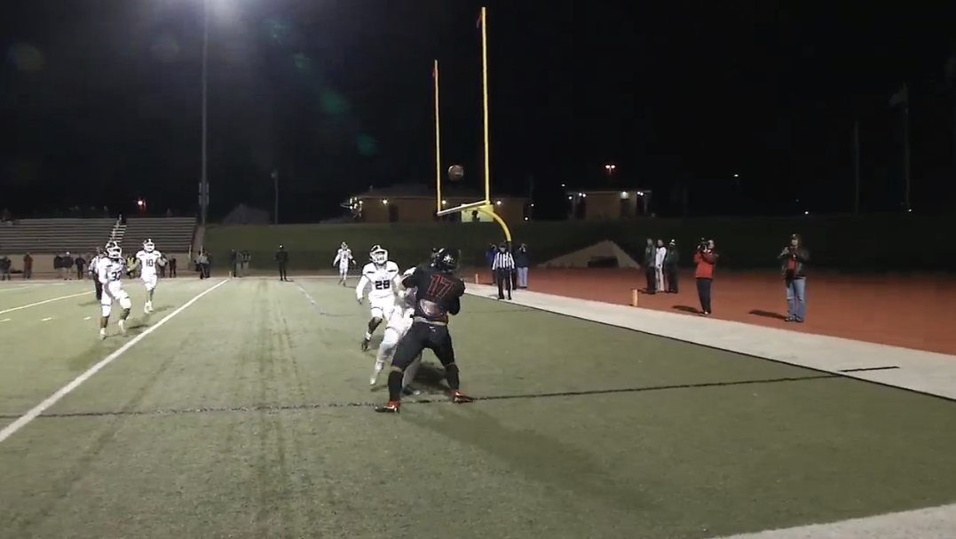 Westmoore with a pass play to the endzone that's popped in the air before wide receiver Derrick Ortiz comes down with it for the score in the game against Jenks. (KOKH)<p></p>