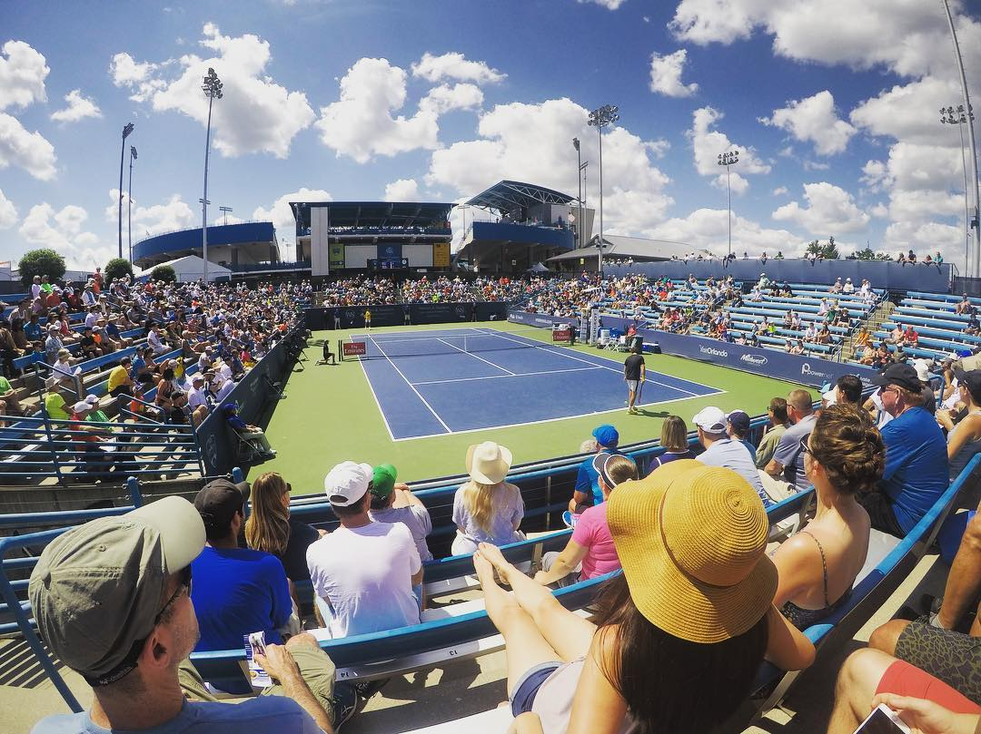 POST: The view of Court 10 at @cincytennis, which is one of the more unique courts here as it is built below ground. Center Court can be seen from afar. / IMAGE: IG user @alexchantennis // Published: 8.17.17