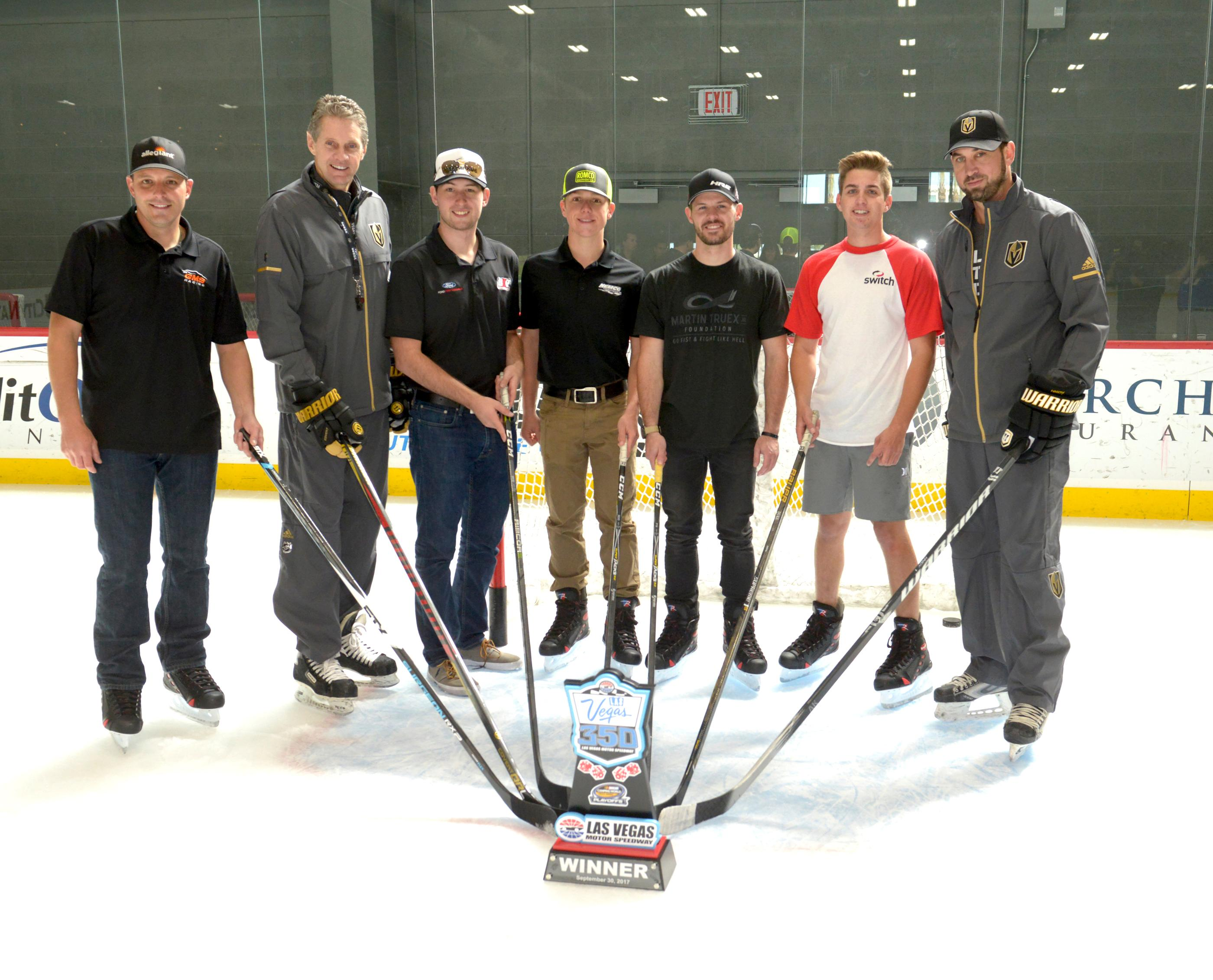 NASCAR Camping World Truck Series drivers, along with the NCWTS Trophy at a hockey skills clinic led by retired hockey professional and Las Vegas Golden Knights TV Analyst Shane Hnidy at City National Arena in Las Vegas. Pictured: (l-r) Johnny Sauter defending NCWTS, Murray Craven retired hockey professional, Chase Briscoe NCWTS driver, Hohn Hunter Nemechek NCWTS driver, Ryan Truex NCWTS driver, Noah Gragson NCWTS driver and Shane Hnidy retired hockey professional and Las Vegas Golden Knights TV Analyst. Friday, September 29, 2017. CREDIT: Glenn Pinkerton/Las Vegas News Bureau