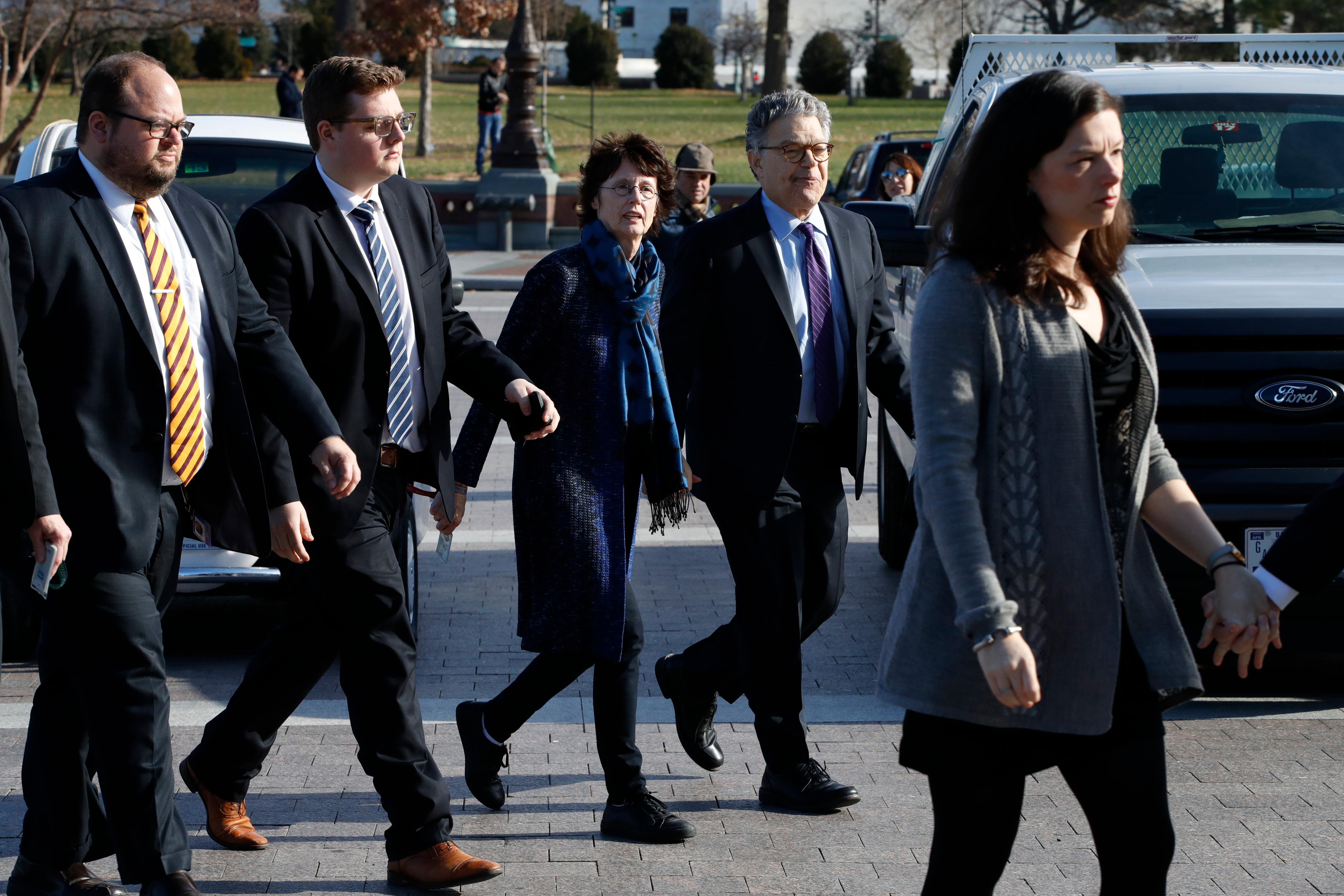 Sen. Al Franken, D-Minn., arrives with his wife, Franni Bryson to the Capitol, Thursday, Dec. 7, 2017, on Capitol Hill in Washington. Franken said he will resign from the Senate in coming weeks following a wave of sexual misconduct allegations and a collapse of support from his Democratic colleagues, a swift political fall for a once-rising Democratic star. (AP Photo/Jacquelyn Martin)