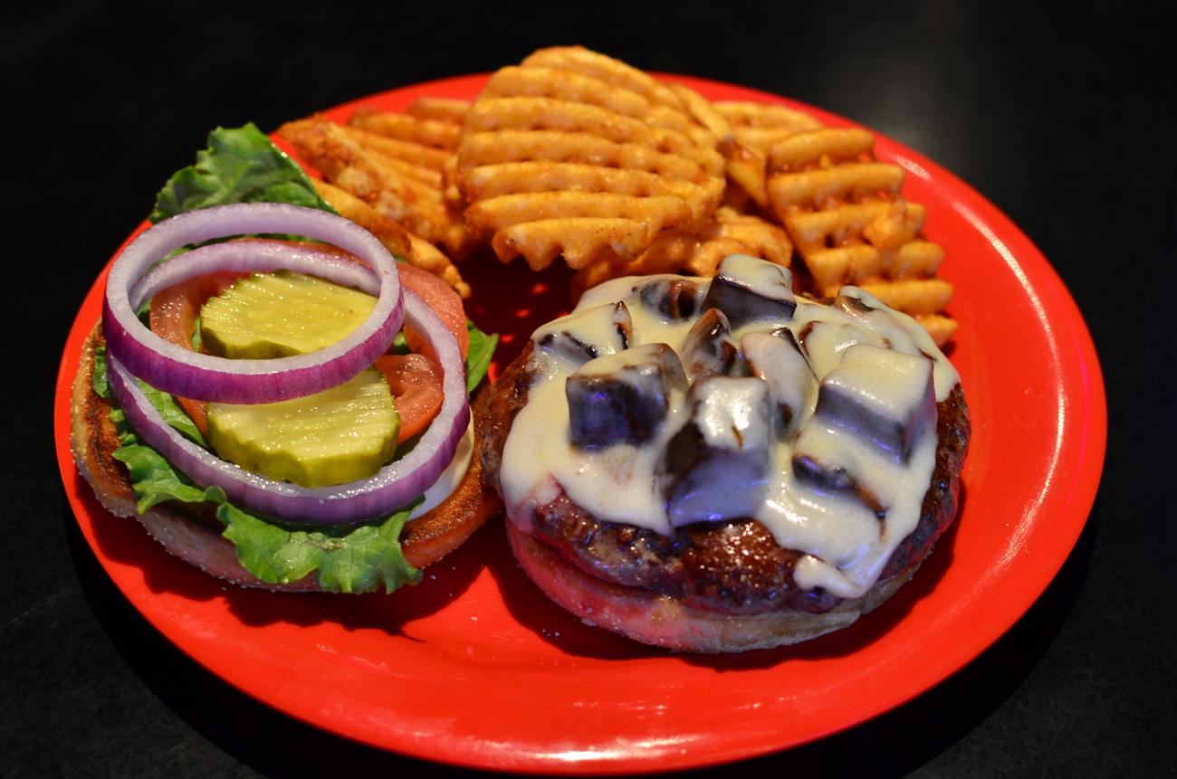 Mushroom and swiss burger with waffle fries / Image: Leah Zipperstein, Cincinnati Refined // Published: 12.7.17