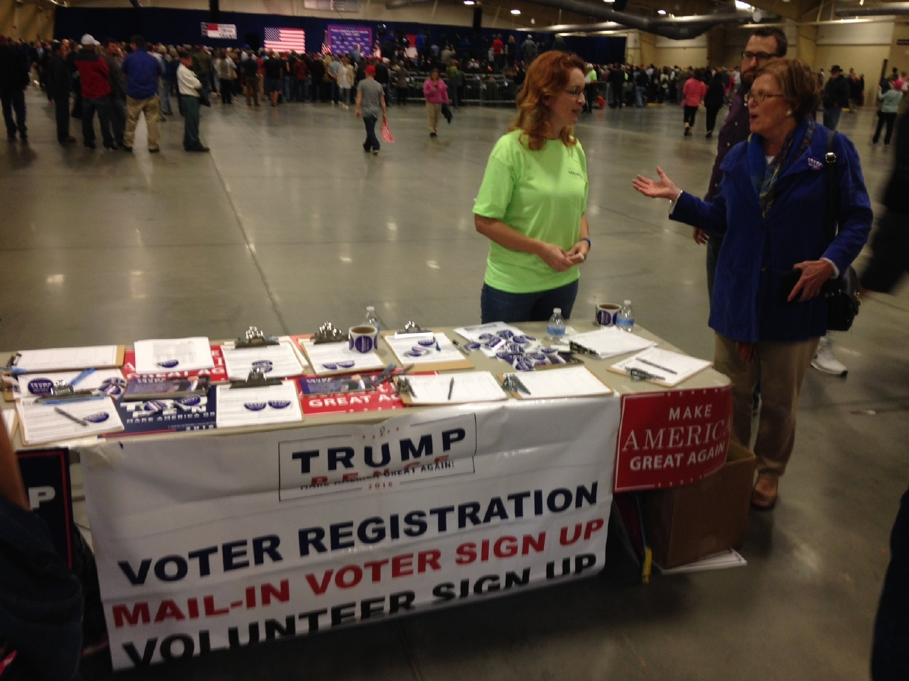 The Donald Trump rally in Fletcher. (Photo credit: WLOS staff)
