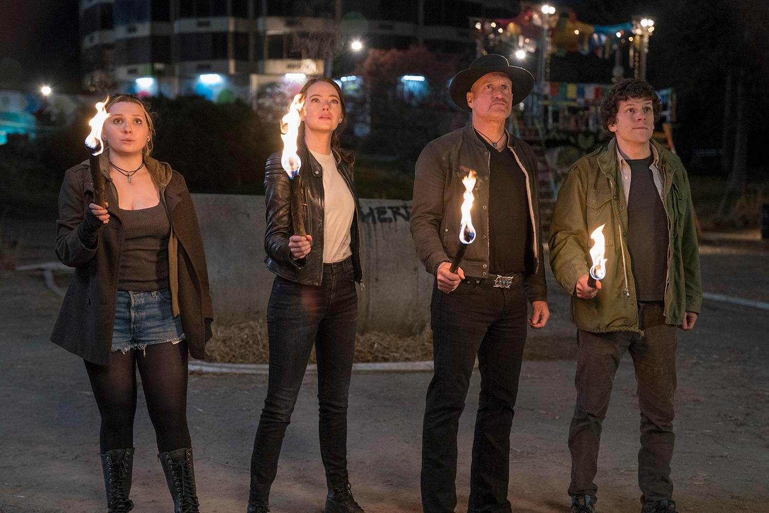 Little Rock (Abigail Breslin), Wichita (Emma Stone), Tallahassee (Woody Harrelson) and Columbus (Jesse Eisenberg) in Columbia Pictures' ZOMBIELAND 2: DOUBLE TAP.{ }(Credit: Jessica Miglio / Columbia Pictures)