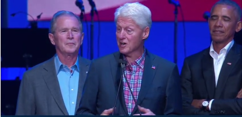 Screenshot of former presidents Barack Obama, George H.W. Bush, Bill Clinton, George W. Bush and Jimmy Carter speak at a hurricane relief concert on October 21, 2017 sponsored by one America Appeal. (Credit: One America Appeal)