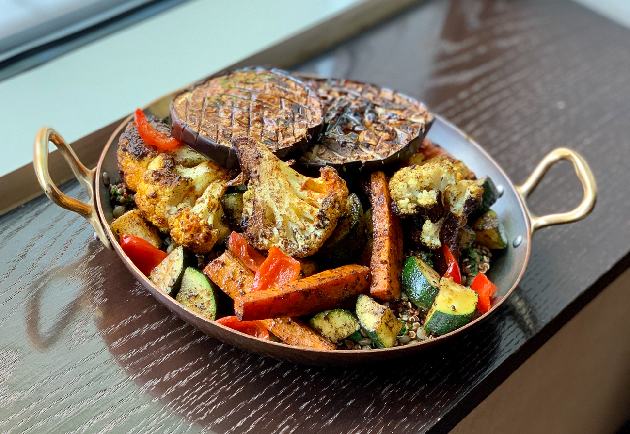 Veggie tagine bowl, quinoa, lentils, spiced cauliflower and carrots, zucchini, barbecue eggplant / Image courtesy of The Mercer OTR // Published: 5.14.20