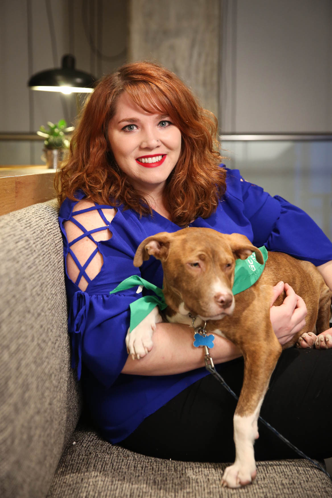 Meet Uncle and Sydney, a 5-month-old Terrier mix and a 29-year-old human respectively. Photo location: Moxy Washington, D.C. Downtown (Image: Amanda Andrade-Rhoades/ DC Refined)