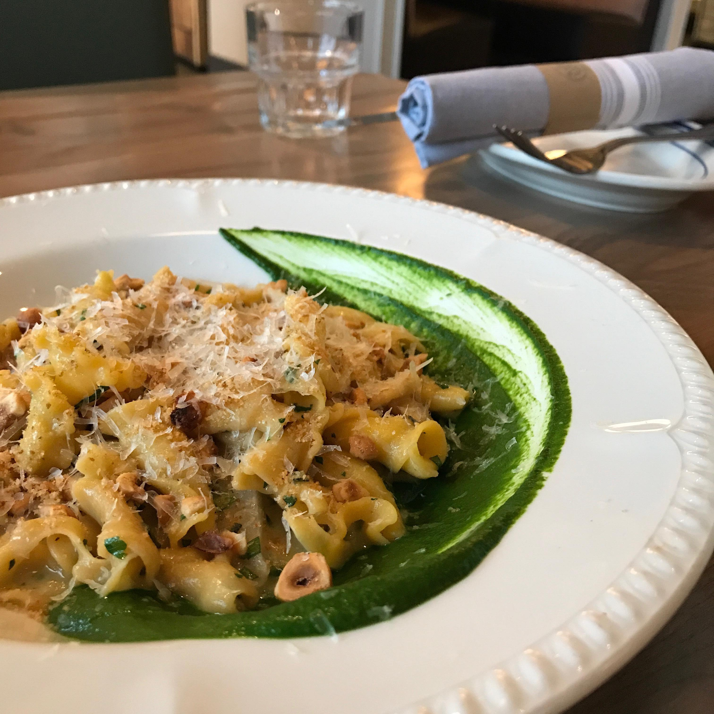 Executive Chef Kyle Bailey has also added several new dishes to his spring menu, such as the sweet potato campanelle with housemade ricotta, salsify, spinach, hazelnuts, and parm. (Image: Courtesy The Salt Line)<p></p>